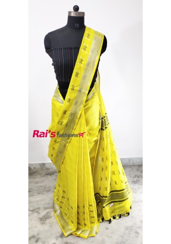 Linen by Linen Weaving Work Saree(17J7)