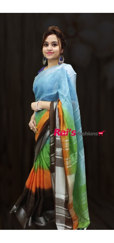 Pure Handloom Linen by Linen With Silver Zari Border Saree(07KH29)