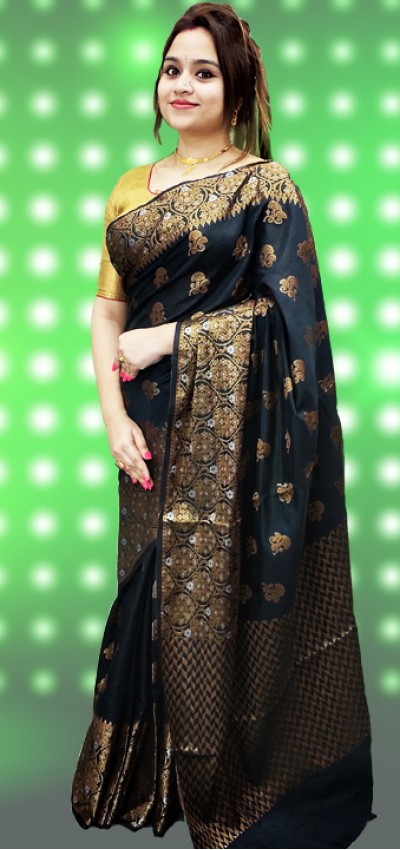 Pure Handloom Soft Silk With Benarasi Weaving Border Saree(28SM12)