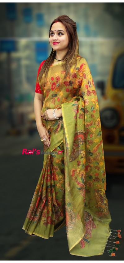 Pure Handloom Cotton Fabric With Full Body Checks Contrast  Border Checks Pattern Saree (050R35)