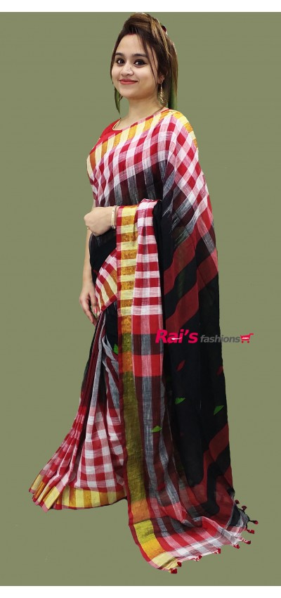 Pure Handloom Khadi Cotton Golden Zari Border Saree(26SP42)