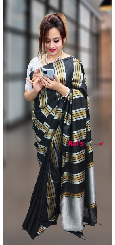 Pure Handloom Soft Silk With Golden Silver Stripes Saree(19DP35)