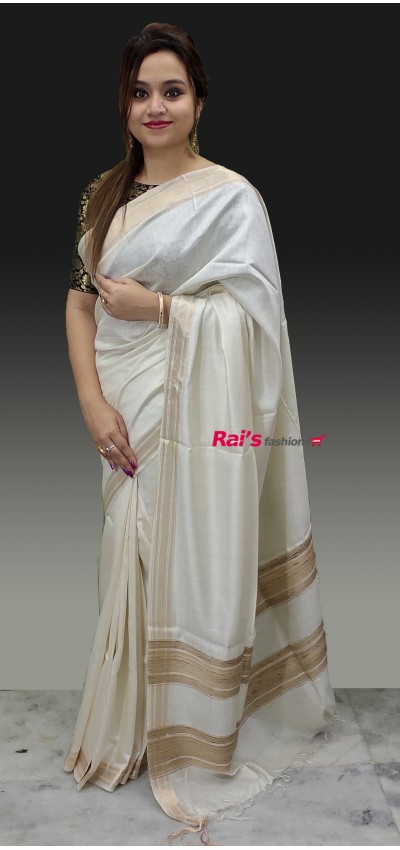 Pure Handloom Tussur Eri Silk With Weaving Golden Zari Border Saree(28AV28966)