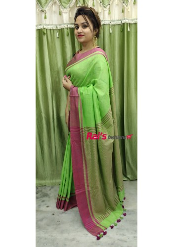 Pure Handloom  Cotton By Cotton With Pink Bordar Saree(19DS902)