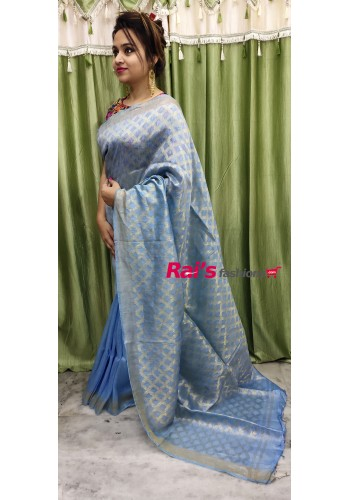 Pure Handloom Silk Linen Half Weaving Work(18F5)