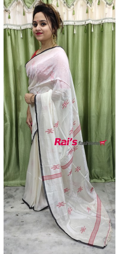 Pure Handloom Hand Spun Silk With Jamdani Buta Work(10F14)