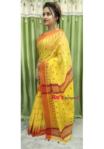 Pure Handloom Cotton With Temple Weaving Border Saree(23F17)