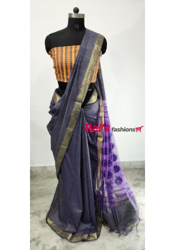 Pure Handloom Soft Silk With Weaving Work(25H8)