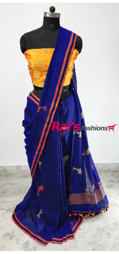 Pure Handloom Charka Cotton With Weaving Work(30H10)