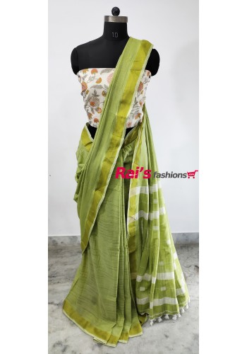 Pure Handloom Cotton With Weaving Work(1H8)