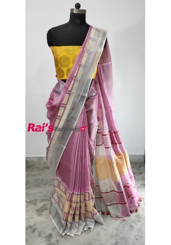 Handloom Tissue Linen With Silver Zari Bordar Saree(26H8)