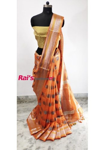 Silk Linen Full Weaving Work Saree(29CD12)