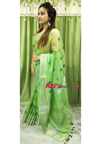 Silk Linen Full Weaving Work Saree(1AWH7)