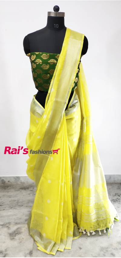 Linen by Linen Bandhni Work Saree(29CD3)