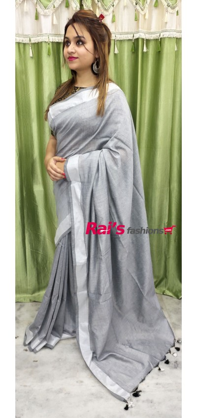 Pure Handloom Khadi Cotton Silk With Silver Zari Border(22F20)