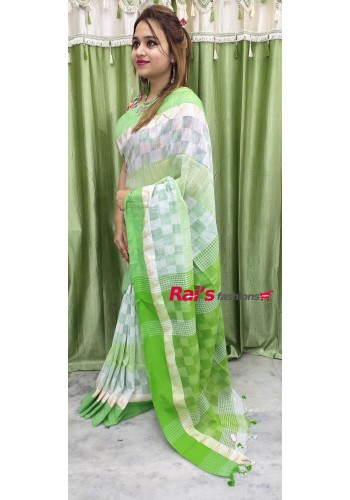 Pure Handloom Cotton With Weaving Border Saree(22F13)