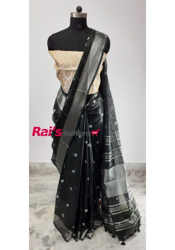 Linen by Linen Bandhni Work Saree(27N7)