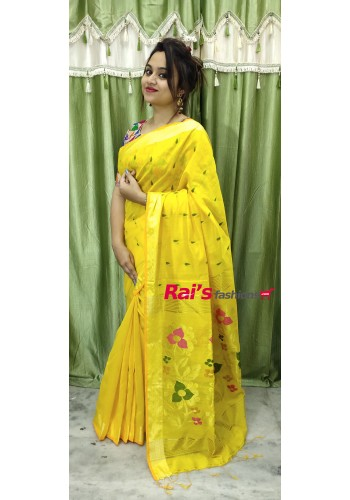 Pure Handloom  Cotton Silk With Full Body Weaving Buta Work Saree(19F16)