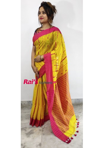 Pure Handloom  Cotton With Tangail Jamdani Design Saree(24J3)