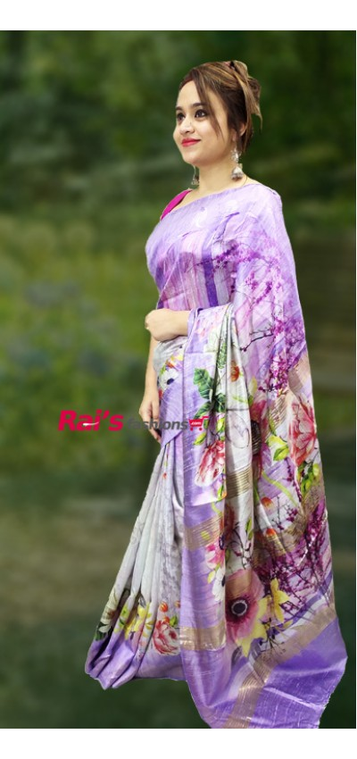 Pure Handloom Dupion Silk With Digital Print(12SD8)