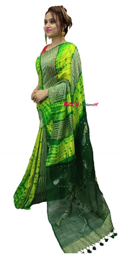 Pure Handloom Hand Spun Matka With Stripes Pattern Shell Sequin Design Shibori Jamdani Butta Work Saree(4AV11)