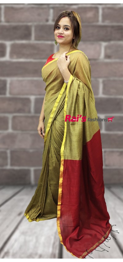 Pure Handloom Khadi Cotton Silk Saree(5SP19)