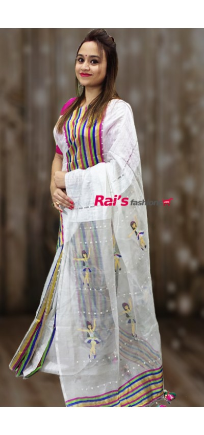 Pure Handloom Hand Spun Matka With Multi Color Stripes Pattern Shell Sequin Pure Reshom Pallu Saree(17AT)