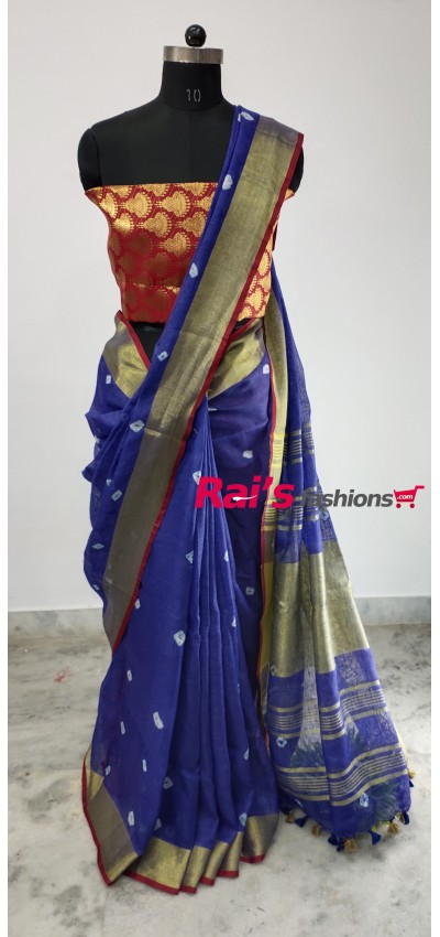 Linen by Linen Bandhni Work Saree(19N9)