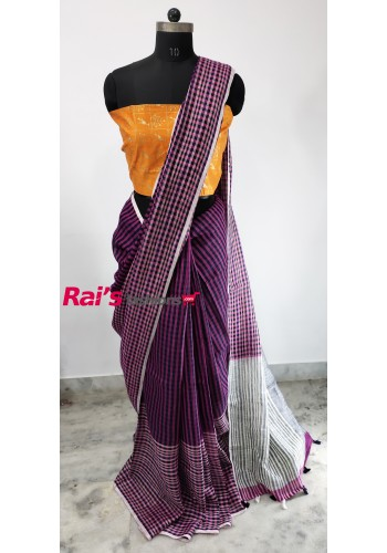 Linen by Linen With Checks Saree(17JUL514)