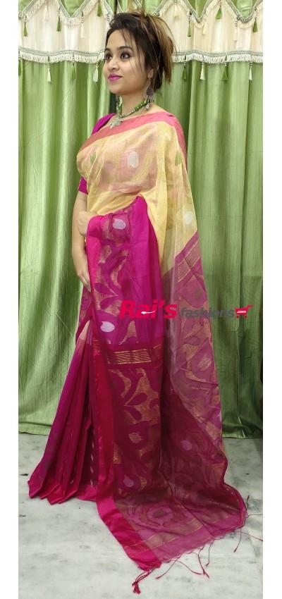 Pure Handloom Silk Cotton With Jamdani Weaving Work Saree(7MC11)