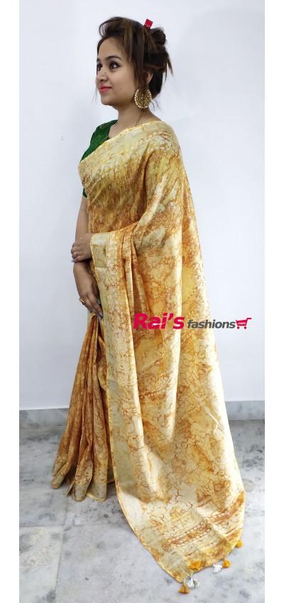 Pure Handloom Discharge Batik Print Saree(1C318)