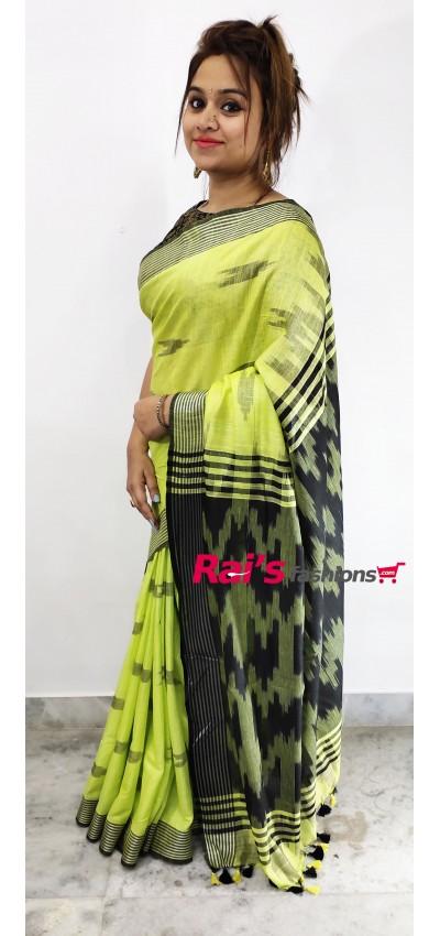 Cotton Slub With Ikkat Pattern Saree(28F3)