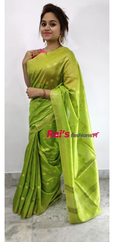 100% Pure Handloom Tasur Munga With Polka Design Saree(28F8)