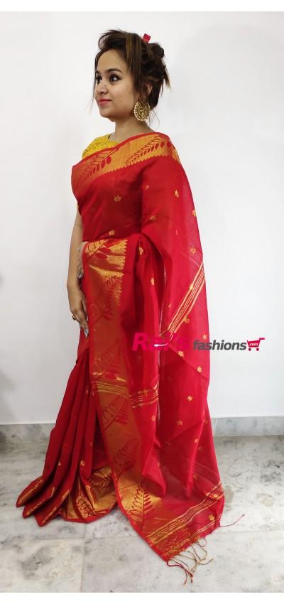 Pure Handloom  Cotton Silk With Full Body Weaving Buta Work Saree(21MF16)