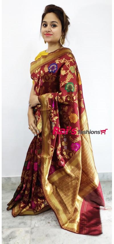 Fancy Silk With Full Weaving Work Design Saree(4MC8)