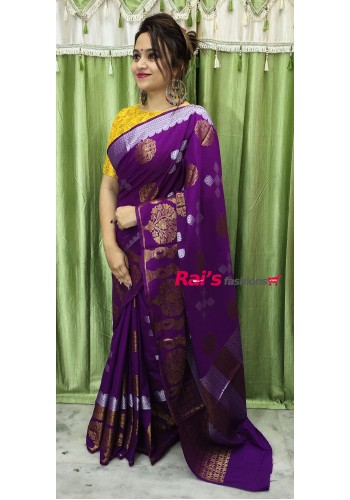 Pure Handloom Silk With Full Body Weaving  Work Saree(18F13)