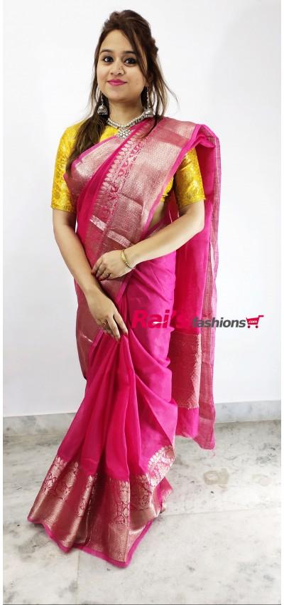 Pure Handloom Silk Linen With Banarasi Weaving  Work Saree(18F11)