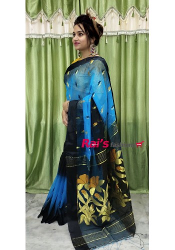 Pure Handloom Silk Cotton With Weaving Work Saree(7MM11)