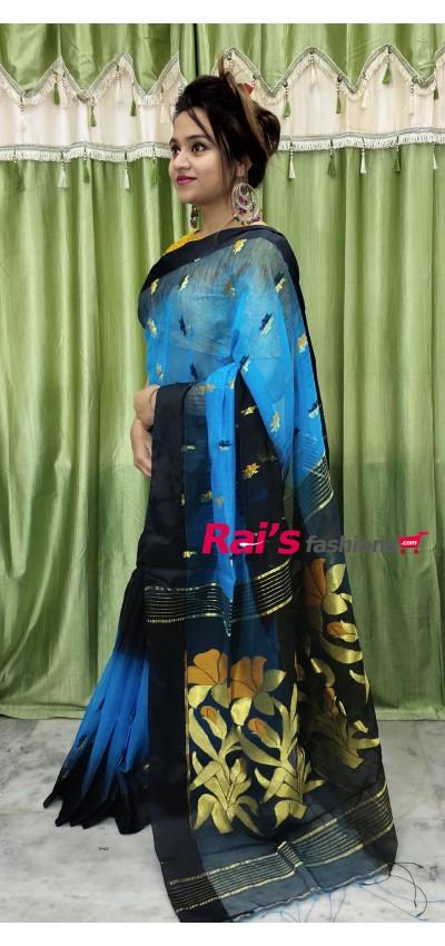 Pure Handloom Silk Cotton With Weaving Work Saree(7MM11)