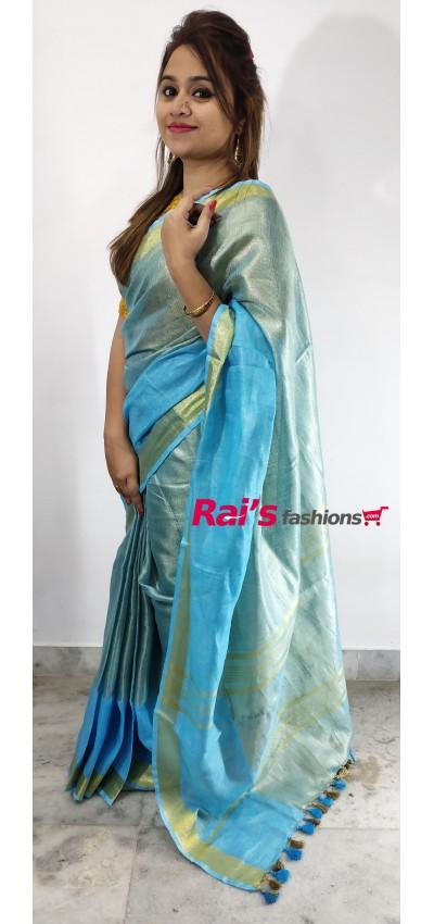 Pure Handloom  Zari Net Weaving Saree(4AM5)