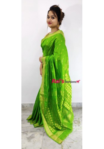 Pure Handloom  Cotton Silk With Full Body Weaving Buta Work Saree(9F3)