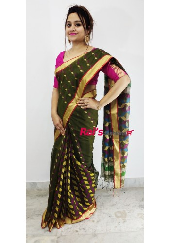 Pure Handloom  Cotton Silk With Full Body Weaving Buta Work Saree(1F9)