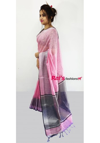 Pure Handloom Soft Silk With Weaving Border(16F10)