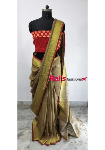 Linen By Linen With Full Body  Weaving Zari Design Saree(26DCE01)