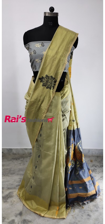 Pure Handloom Cotton Silk With Weaving Design Saree(15DS3)