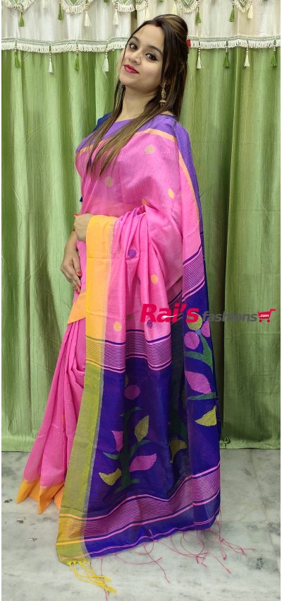 Handloom Cotton Silk With Jamdani Waeving Work(3ADEC11)