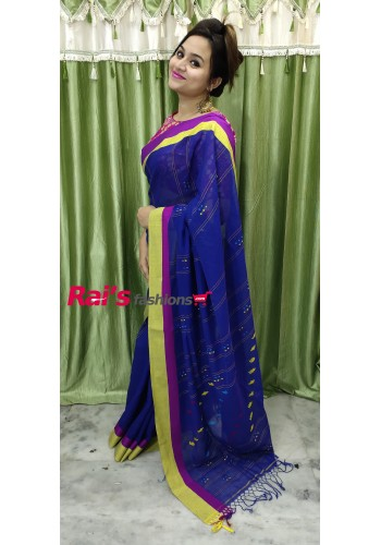 Pure Handloom Charka Cotton With Stitching Weaving Work(22P14)