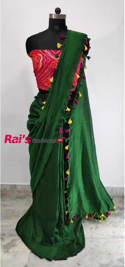 Pure Handloom Khadi Cotton With Pallu Pompom Work Saree(30NAA04)