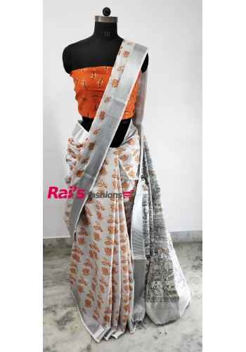 Pure Handloom Tissue Linen With Print(13C5)