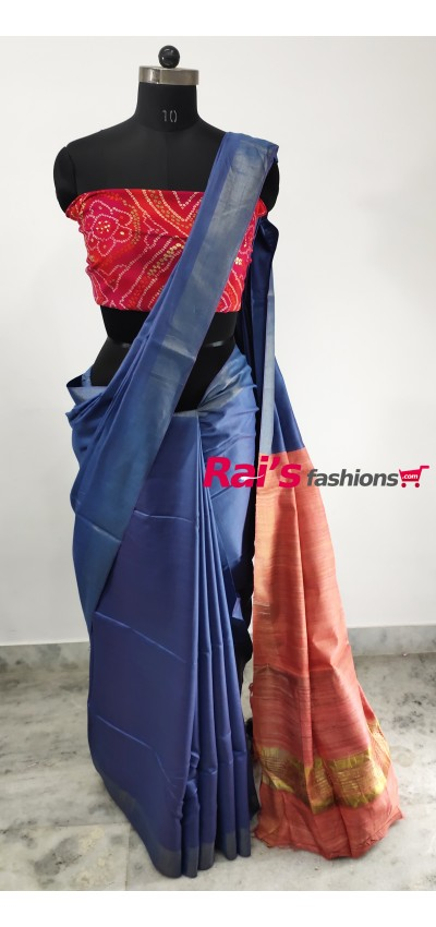 100% Tasur Gicha Pallu  With Golden Zari Bordar Saree(13C19)